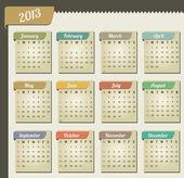 Vintage año 2013 calendario — Vector de stock
