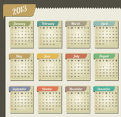 Vintage año 2013 calendario — Vector de stock