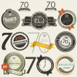 Stock vektor: 70 years anniversary signs and cards collection
