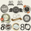 80 years anniversary signs and cards collection — Imagens vectoriais em stock