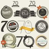 Raccolta di carte e segni anniversario 70 anni — Vettoriale Stock