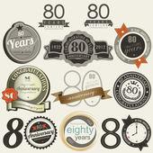 80 年記念サインとカード コレクション — ストックベクタ