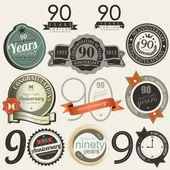 90 年記念サインとカード コレクション — ストックベクタ