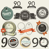 90 years anniversary signs and cards collection — Stok Vektör