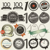 100 years anniversary signs and cards collection — Vettoriale Stock
