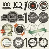100 yıl yıldönümü işaret ve kartları koleksiyonu — Stok Vektör