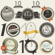 10 years anniversary signs and cards — Imagen vectorial