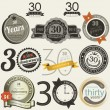 30 years anniversary signs and cards — Vector de stock #22343487
