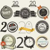 20 let výročí podepíše a karty — Stock vektor