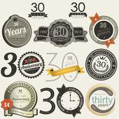 30 let výročí podepíše a karty — Stock vektor