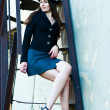 Business woman on the stairs — Stock Photo #11372358