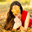 Stock Photo: Beautiful girl covers face