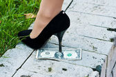 Dollar under the heel — Stock Photo