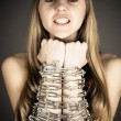 Woman related chain resists — Stock Photo