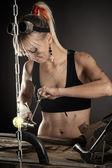 Female engineer has been repairing — Stock Photo