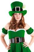 Woman dressed as leprechaun — Stock Photo