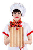Chef with a cutting board — Stock Photo