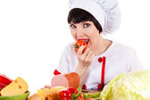 Chef eating — Stock Photo