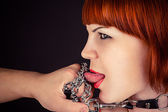 Beautiful woman as obedient slaves — Stock Photo