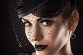 Beautiful Female Model with Black Make up — Stock Photo