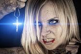 Evil vampire and the bright light — Stock Photo
