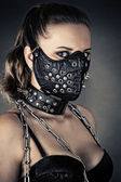 Brutal woman with mask spikes — Stock Photo
