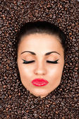 Beautiful woman face with closed eyes — Stock Photo
