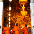 Bangkok - September 8 : Monks pray in the evening in Wat Pho Tem - Stok fotoraf