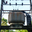 Stock Photo: Old Transformer on High Power Station. High Voltage.