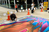 Bangkok - March 3 : An artist (Tony Cuboliquido) during drawing and painting his 3D artwork . — Φωτογραφία Αρχείου