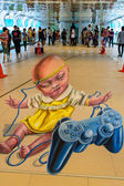Bangkok - March 3 : 3d illusionary painting by Leon Keer artist — Stock Photo