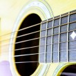 Close up Part of the body of an acoustic guitar. — Stock Photo