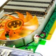 Closeup Heatsink Computer Graphics Card or Video Card (VGA). — Stock Photo
