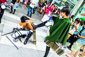 Cosplayer as characters Levi and Eren Jaeger from Attack on Titan. — Stock Photo