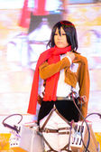 Cosplayer as characters Mikasa Ackerman from Attack on Titan. — Stock Photo
