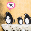 Street Art Graffiti - Penguin on the wall. — Stock Photo