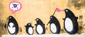 Street Art Graffiti - Penguin on the wall. — Stock Photo