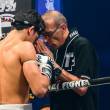 Coach Praying before the match for Antoine Pinto of France in Thai Fight Extreme 2013. — Stock Photo