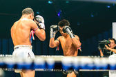 Peemai Jitmuangon of Thailand and Youssef Boughanem of Belgium in Thai Fight Extreme 2013. — Stock Photo