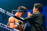 Coach Praying before the match for Peemai Jitmuangon of Thailand in Thai Fight Extreme 2013. — Stock Photo