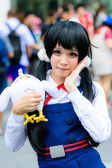 Cosplayer as characters from Nyaruko in Japan Festa in Bangkok 2013. — Stock Photo