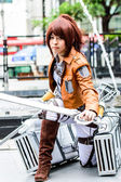 Cosplayer as characters Sasha Blouse from Attack on Titan in Japan Festa in Bangkok 2013. — Stock Photo