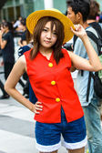 Cosplayer as characters Monkey D. Luffy from One Piece in Japan Festa in Bangkok 2013. — Stock Photo