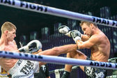 Ruslan Kushnirenko of Ukraine and Jimmy Vienot of Switzerland in Thai Fight 2013. — ストック写真