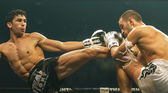 Antoine Pinto of France and Luca Novello of Italy in Thai Fight 2013. — Stock Photo