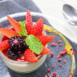 Italian Dessert, Panna Cotta Decorated with Strawberry and Mint. — Stock Photo #43439449