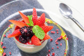 Italian Dessert, Panna Cotta Decorated with Strawberry and Mint. — Stock Photo