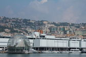 The aquarium and the sphere of Renzo Piano in Genoa — Stock Photo