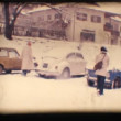Stock Video: Vintage 8mm. Friends playing with snow