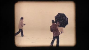 Vintage 8mm. Friends playing with snow – Slow motion — Stock Video